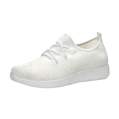 Zapatillas de Mujer Deporte Planas de Malla Transpirable Zapatos Casuales de Zapatos al Aire Libre para Estudiante Slip Casual en Suelas Cómodas Running Deportivos Yvelands(Blanco,41)