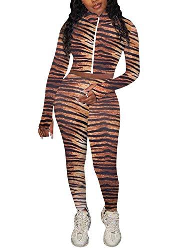 FOBEXISS Chándal de 2 piezas para mujer, con agujero para el pulgar, estampado bodycon, ropa deportiva de manga larga con cremallera, ropa deportiva para estar