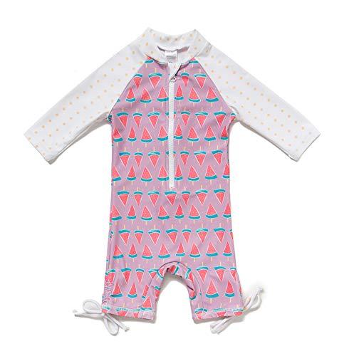 Baby Mädchen Ein stück 3/4 der ärmellänge UV-Schutz 50+ Badeanzug MIT Einem Reißverschluss(Pink-Wassermelone,12-18M)