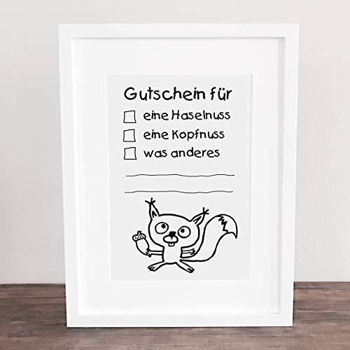 Bild, Poster, Kunstdruck, lustiger Gutschein, Eichhörnchen, Nuss, Freundschaft