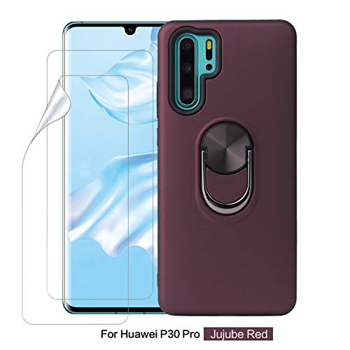 Joytag Compatible For Huawei P30 Pro case+ Protection Film [2 Packs] roterende ring magnetische Houder auto telefoonhoesje TPU Silicon Bumper beschermhoesje - Zwart, Rode Wijn, Huawei P30 Pro