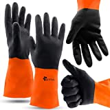 Chemical Gloves Set of 2 Pairs - Size XL Gloves with High Protection for Your Hands-Waterproof Latex Gloves Anti-slip Grip For Firm Handling-Industrial Strength Household Chemical Industry Automotive