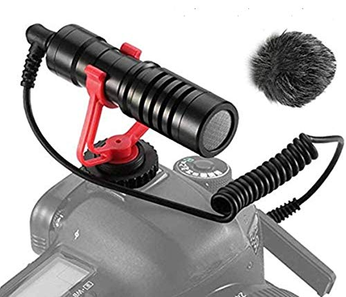 Dazzne Video Micro Cámaras Compacto Micrófono Condensador Compatible para Sony/Canon/Nikon/Pentax DSLR Videocámaras Mac Tablet iPhone/Android Smartphones, Recording Youtube/Interview