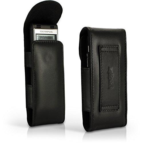 igadgitz Schwarz Echt Leder Tasche Schutzhülle Hülle Etui Case Kompatibel mit Olympus WS-852 WS-853 Digitale Diktiergeräte
