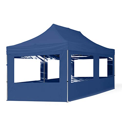 TOOLPORT Carpa Plegable Pabellón Carpa Plegable 3x6m - 4 Partes Laterales Pabellón ALU Carpa Party Azul Marino Techo 100%