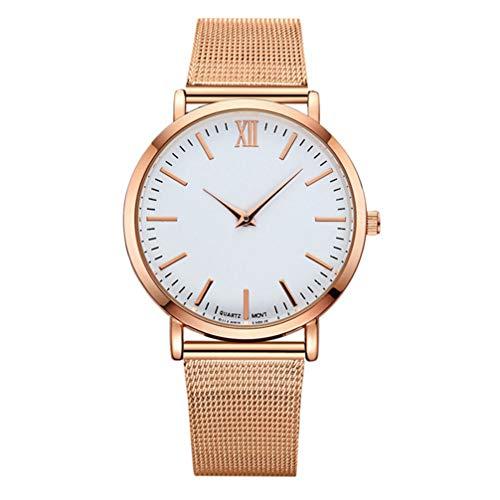 Hemobllo Reloj de Pulsera analógico clásico Delgado Fecha Reloj de Cara Grande Simple con Malla de Acero Inoxidable para niñas Damas Mujeres