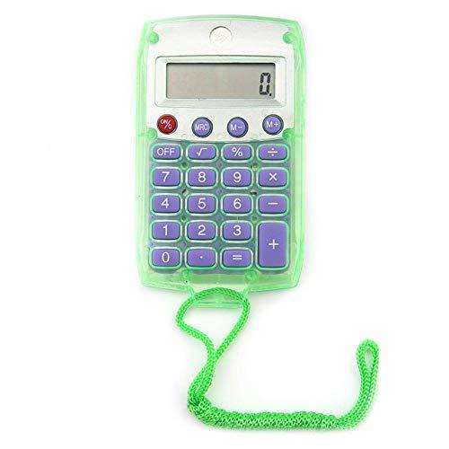Tedlku Zakrekenmachine, mini transparante rekenmachine, studenten, exam-lanyard pocket, calculatiecounter groen