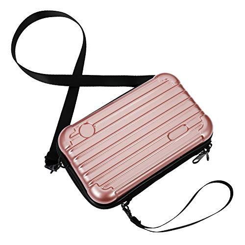 dgaf&bae Umhängetasche Handy Handschlaufe Klein Tasche Mode Hardcase Kosmetiktaschen Harte Schale Kosmetiktasche ReißVerschluss Fall Kunststoff Hartschale(Rosa Gold)