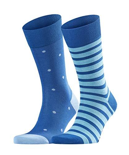 FALKE Herren Socken Even Stripe & Dot 2-Pack - Baumwollmischung, 2 Paar, Schwarz (Black 3000), Größe: 47-50