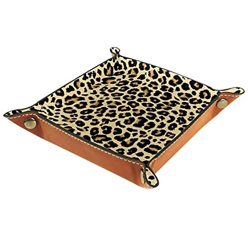Bandeja de valet de cuero Catchall bandeja de joyería caja de dados bandeja de noche bandeja clave teléfono cambio de moneda relojes y titular de caramelos Sundries bandeja entrada estampado leopardo