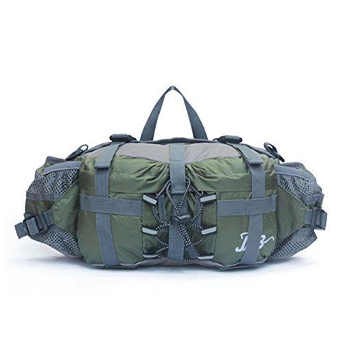 Outdoor peak Unisex Nylon Wasserabweisende Gürteltasche Reiserucksack Messenger Bag Reiserucksack Bauchtasche Sporttasche Fahrrad Bergsteigen Trekking Plus Schultergurt(Amree grün)