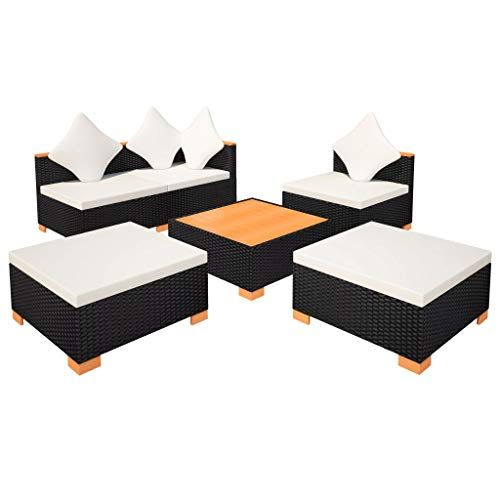 vidaXL Gartenmöbel 6-TLG. Poly Rattan Schwarz Sitzgruppe Lounge Gartenset Sofa - 7