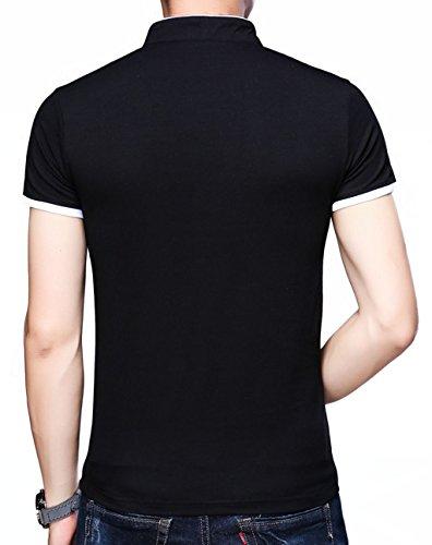 KUYIGO-Mens-Casual-Slim-Fit-Shirts-Pure-Color-Short-Sleeve-Polo-Fashion-T-Shirts