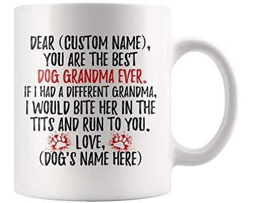 Personalized Dog Grandma Coffee Mug, Dog Grandma Present, Grandma Dog Owner, Grandma Of Dogs, K9 Grandma, Dog Grandmother Mug (11 oz)