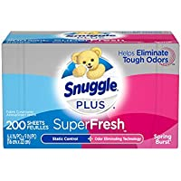 2 Pack 200-Count Snuggle Plus SuperFresh Fabric Softener Dryer Sheets with Static Control and Odor Eliminating Technology