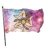 NotApplicable Fahne Sizilianische Flagge Logo Klassische Gartenflagge 150X90Cm Bunt Im Freien Willkommen Standard Yard Banner House Flagge Urlaub Dekorative Feiertage Lebendige Jahreszeit