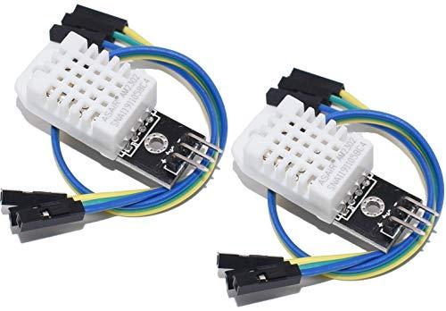 TECNOIOT 2pcs DHT22 Digital Temperature Humidity Sensor AM2302 Module with PCB and Cable | 2pcs DHT22 / AM2302 Sensor de Temperatura y Humedad