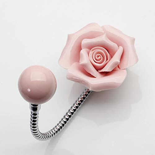 Beautiful 3D Flower Ceramic Wall Coat Hook , Chrome Decorative Robe Hook, Scarf, Bag, Towel, Hat etc for Kitchen Bathroom Office - YL00006 (Rose Pink)