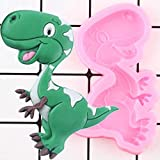 CSCZL Moldes de Silicona de Dinosaurio de Dibujos Animados en 3D, moldes de Pasta de Goma de Chocolate para Hornear Galletas, Herramientas de decoración de Pasteles con Fondant de cumpleaños DIY