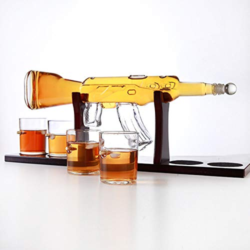 SHENGYUAN Juego De Decantador Y Vasos De Whisky, Juego De Decantador Grande De Pistola De 800 Ml, Juego De Vasos De Bala, decantador de Vino, Regalos De Vino Tinto para Hombres, Rifle, 800ML