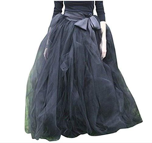 WDPL Women's A-Line Tulle Strips Ruffles Tutu Ball Gown Skirts (Black, XXX-Large)