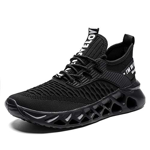 Kvovzo Mens Running Shoes Mesh Breathable Sneakers Lightweight Tennis Sport Casual Walking Athletic for Men Volleyball Workout, Black Monochrome, 12