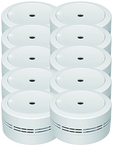 Jeising Mini Rauchmelder GS535 10er Set weiß 10 Jahres Lithium Batterie - VDs geprüft EN14604 Komfort Funktionsprüfung mit Stummschaltung
