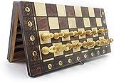 MWKLW Juegos de ajedrez Staunton para Adultos con Almacenamiento Ajedrez de Madera súper magnético Damas de Backgammon Juegos de ajedrez 3 en 1 Juego de ajedrez de Viaje de ajedrez Antiguo