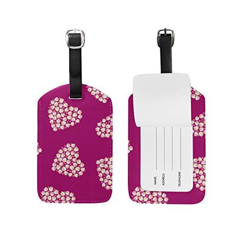 LORONA Hermoso patrón de tulipanes de corazón floral sobre fondo granate Etiquetas de equipaje Cuerdas Etiqueta de identificación de viaje para maleta de mano, 1 unidad'