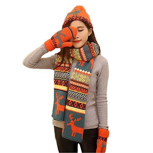 DEBAIJIA Conjunto de bufanda de sombrero de mujer Guantes tejidos forrados con terciopelo Acogedor conjunto de tres piezas al aire libre de alces Patrón Invierno Cálido Suave Regalo de Navidad
