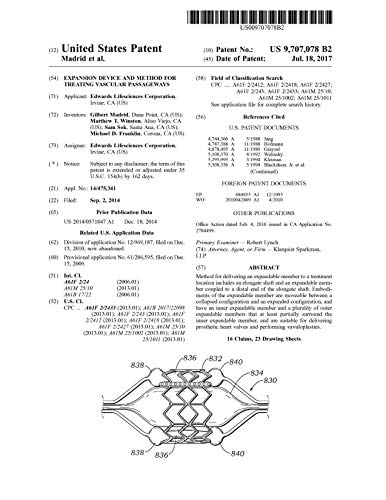 Expansion device and method for treating vascular passageways: United States Patent 9707078 (English Edition)