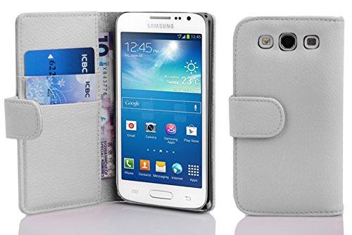 Cadorabo Funda Libro para Samsung Galaxy Express 2 en Blanco MAGNESIO - Cubierta Proteccíon de Cuero Sintético Estructurado con Tarjetero y Función de Suporte - Etui Case Cover Carcasa