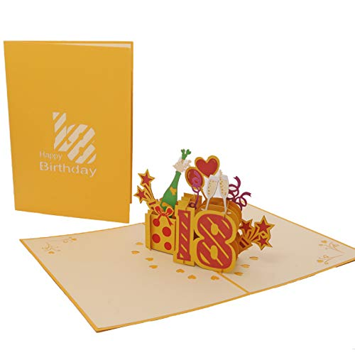 Favour Pop Up biglietto di auguri per il 18° compleanno rotondo con cover in colore oro, ideale anche come regalo di denaro o buono. TG018