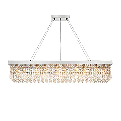 "7PM W47"" x D10"" Modern Rain Drop Rectangle Clear K9 Crystal Chandelier Pendant Lamp LightFixture 10 Lights for Dining Room Kitchen Island Chrome Frame"