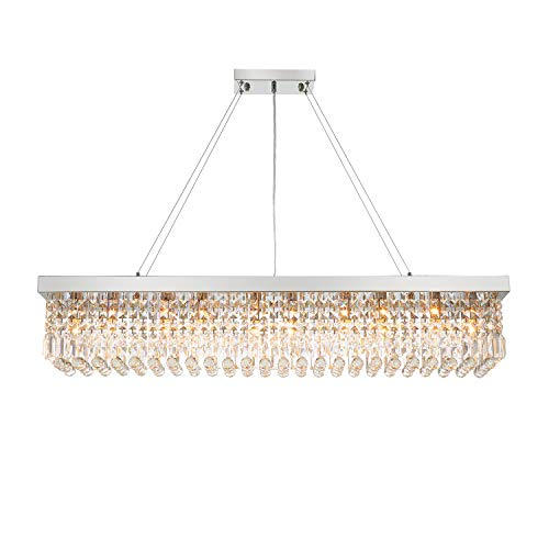 7PM Rectangle K9 Crystal Chandelier Modern Rectangular Pendant Light Fixture for Dining Room Kitchen Island Chrome L47' x W10' x H10'