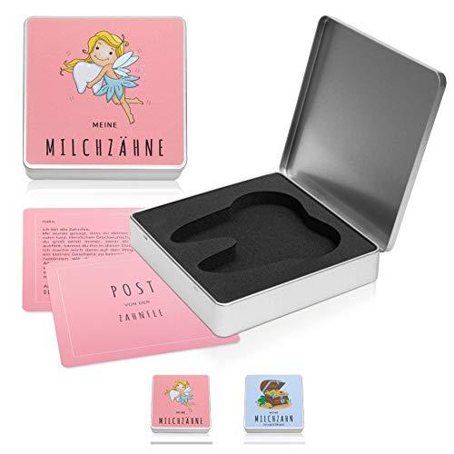 nunubri® Milchzahndose Mädchen - 2 Versionen (Zahnfee & Pirat) - Gepolsterte Zahndose für Milchzähne mit festem Verschluss inkl. Zahnfee Brief