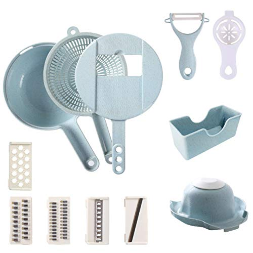2020 Vegetable Slicer Cutter-12-in-1 Multi Blade Adjustable 5 Grade Slicer Cheese Vegetable with Slicer with Drain Basket-Best Kitchen Grater Set with Egg Separator (Blue)
