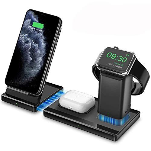 Hoidokly 3 in 1 Caricatore Wireless, Qi Stazione di Ricarica Rapida, Caricabatterie Wireless Charger per iPhone SE2/11 Pro Max/XS Max/XR/X/8 Plus, Apple Watch Series 5/4/3/2/Airpods 2/Pro/Samsung Buds