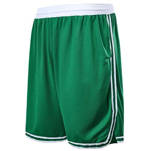 Boston Celtics Shorts für Kinder und Jugendliche, Basketball Shorts für Männer mit Taschen, Fitness Sports Training Shorts, Loose Running Beach Shorts (Grün,3XL)