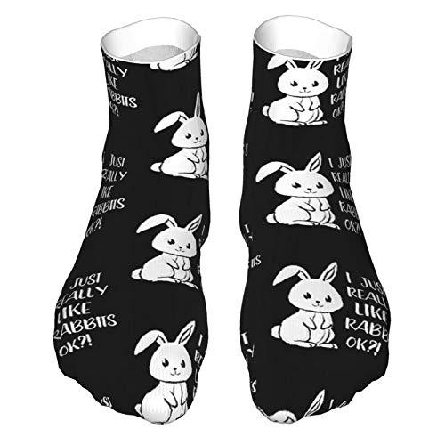 I Just Really Like Rabbits Süße Osterhase Kaninchen Erwachsene Socken Low-Cut Socken Casual Socken Atmungsaktive Sportsocken Unisex 30cm