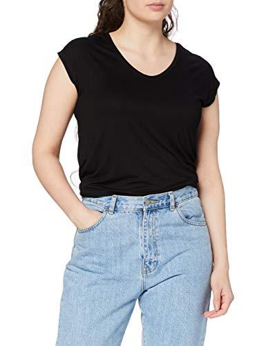 PIECES Damen T-Shirt PCBILLO Tee SOLID NOOS, Schwarz (Black), 40 (Herstellergröße: L)