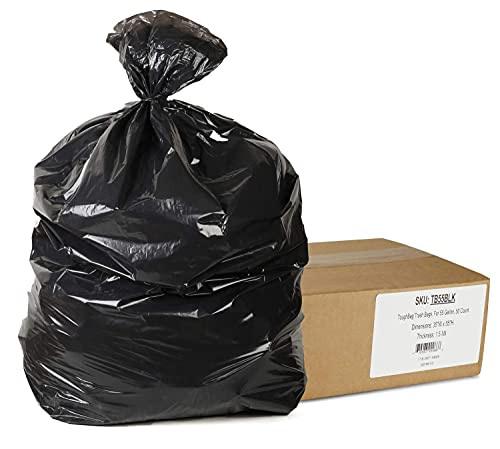 """ToughBag 55 Gallon Trash Bags, 35 x 55"""" Large Industrial Black Trash Bags (50 COUNT) - 55-Gallon Outdoor Garbage Bags for Commercial, Janitorial, Lawn, Leaf, and Contractors - Made in USA"""