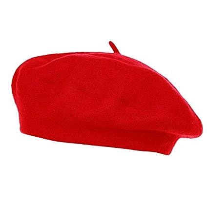HowYouth Clásico Francés Artista Gorro de Las Mujeres Los Hombres Boina Bombrero (Rojo)