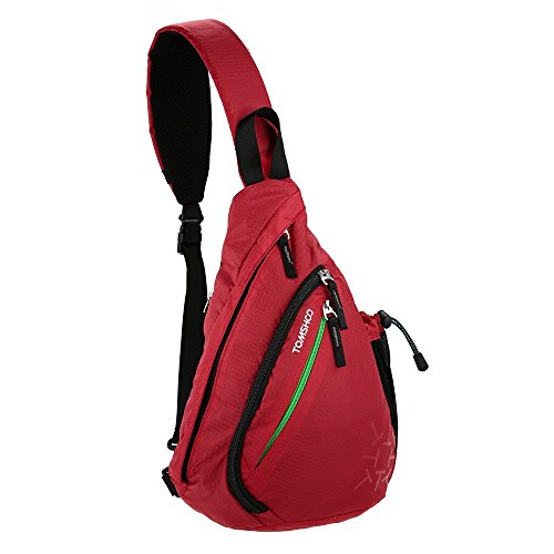TOMSHOO Bolsa de Hombro Pecho Crossbody de Tela de Oxford y Poliéster Ideal para Hombres y Mujers en Deportes (Rojo))