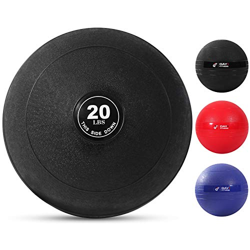 Weighted Slam Ball by Day 1 Fitness - 20 lbs - No Bounce Medicine Ball - Gym Equipment Accessories for High Intensity Exercise, Functional Strength Training, Cardio, CrossFit