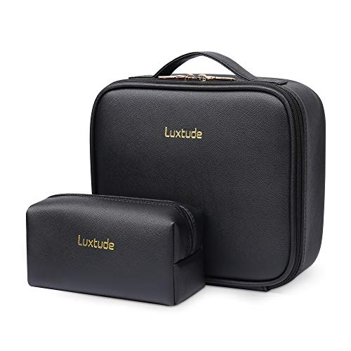 """Luxtude Travel Makeup Bag Makeup Case Cosmetic bag, 2-Layer 10.4"""" Large PU Leather Make up bag, Portable Professional Makeup Train Case Cosmetic Artist Storage Organizer with Dividers for Women(Black)"""