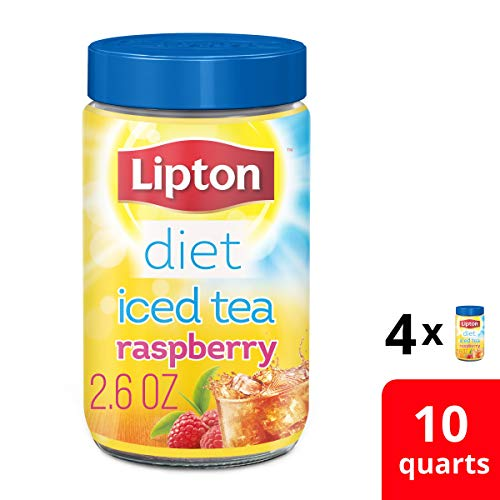 Lipton Diet Iced Tea Mix for a delicious low calorie refreshment Sugar Free Raspberry Made from 100% Real Tea Leaves 10 qt pack of 4