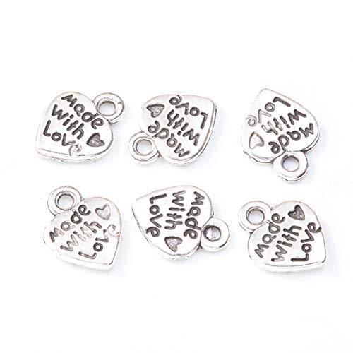 200 colgantes de aleación en forma de corazón hechos a mano para joyería, pendientes de filigrana, pulseras, collares, gargantillas, hechas a mano (plata)