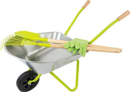 small foot Carretilla con herramientas de jardín, incl. guantes, pala y rastrillo. Juguetes de exterior y aire libre (11627) , color/modelo surtido