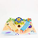 Beach Pop Up Retirement Card - Birthday Card, Congratulations Card, Retirement Card, Fathers Day, Mothers Day | Pop Card Express (Beach Pop Up Card - Blue)